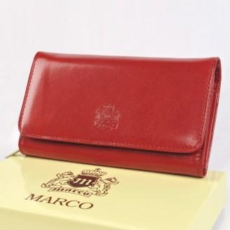 Portfel skórzany Marco PD20S Czerwony